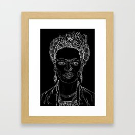 Geometric Black and White Drawing Frida Kahlo Framed Art Print