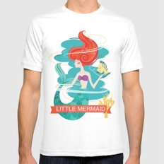 Little Mermaid White Mens Fitted Tee MEDIUM