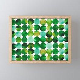 Green Watercolor Circles Pattern Framed Mini Art Print