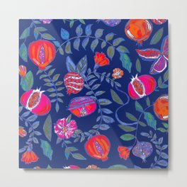 Pomegranate pattern electric blue Metal Print