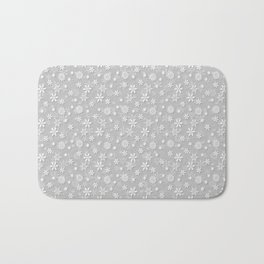 Festive Silver Grey and White Christmas Holiday Snowflakes Bath Mat
