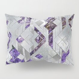 Abstract Geometric Amethyst and Mother of pearl Pillow Sham