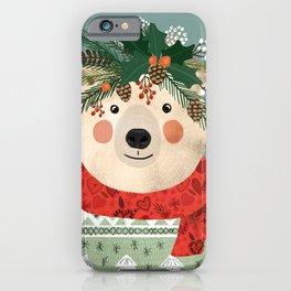 Polar Bear With Christmas Flowers iPhone Case