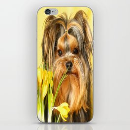 Spring Yellow Crocuses With Yorkie Puppy #decor #society6 iPhone Skin