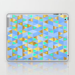 Contemporary Faux Gold and Blue Triangles Pattern Laptop & iPad Skin