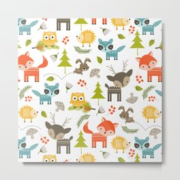 Woodland Animals Metal Print
