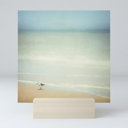Sandpiper Bird on Beach Photography, Shore Birds Ocean Art, Calming Blue Coastal Photo Sea Print Mini Art Print