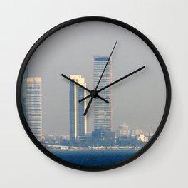 Skyscrapers in the skyline of Izmir (Turkey) Wall Clock