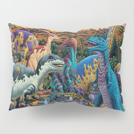 Dinosaurs flee the volcano Pillow Sham