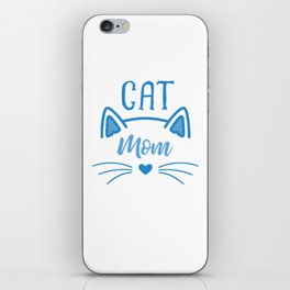 Cat Mom Heart Nose Ears and Whiskers wb iPhone Skin