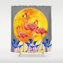 PINK FLAMINGOS FULL MOON BLUE LILIES Shower Curtain