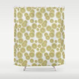 Lemon Slice Watercolour Pattern Shower Curtain