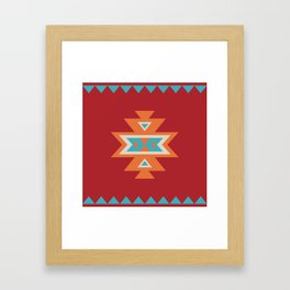Navajo Aztec Pattern Orange Turquoise on Red Framed Art Print