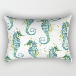 Seahorse: Green Rectangular Pillow