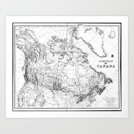 Vintage Map of Canada (1898) BW Art Print