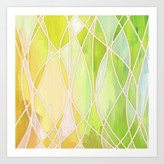 Lemon & Lime Love - abstract painting in yellow & green Art Print