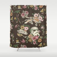 science Shower Curtains featuring Botanic Wars by Josh Ln