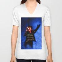 u2 V-neck T-shirts featuring U2 / Bono / Baby Light My Way by JR van Kampen