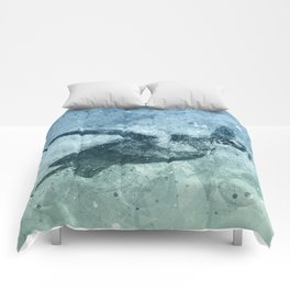 Geometric Flying Green Sea Turtle Comforters