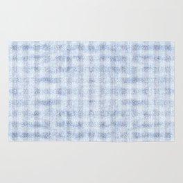 Pale Foam Blue Gingham Faux Suede Design Rug