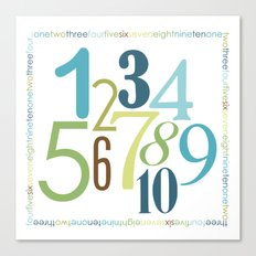 Numbers Square - Grass Stains colorway Canvas Print