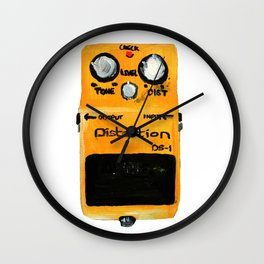 Guitar Distortion Pedal Acrylics On Paper (White Edit) Wall Clock