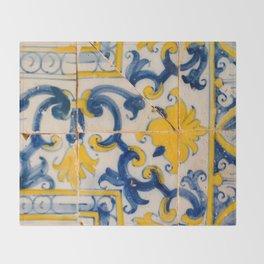 Portuguese azulejos, city of Ericeira Throw Blanket
