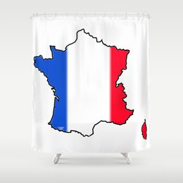 France Map with French Flag Shower Curtain