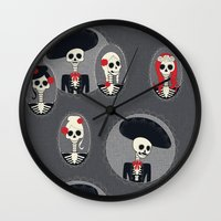 dia de los muertos Wall Clocks featuring Dia de Los Muertos by Julie's Fabrics & Thingummies