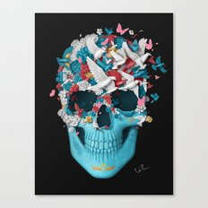 Skull Wings Black Canvas Print