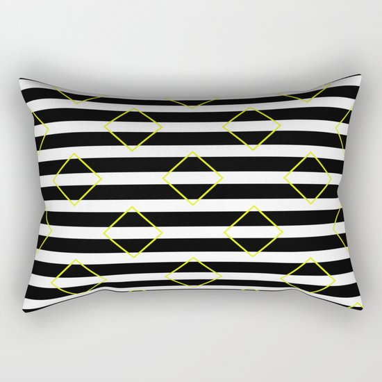 Black And White Stripes And Yellow Squares Pattern Rectangular Pillow