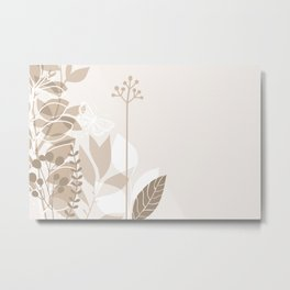 Pantone Hazelnut Botanicals and Butterfly Graphic Design 2 Metal Print