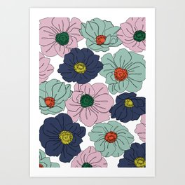 Anemone floral illustration - Anemone all over Art Print