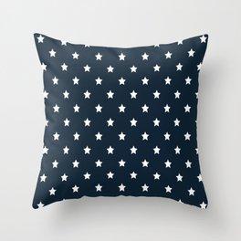 Dark Blue With White Stars Pattern Throw Pillow