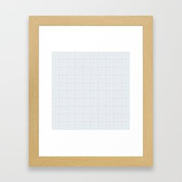 optical art pattern squares in white and a pale icy gray Framed Art Print