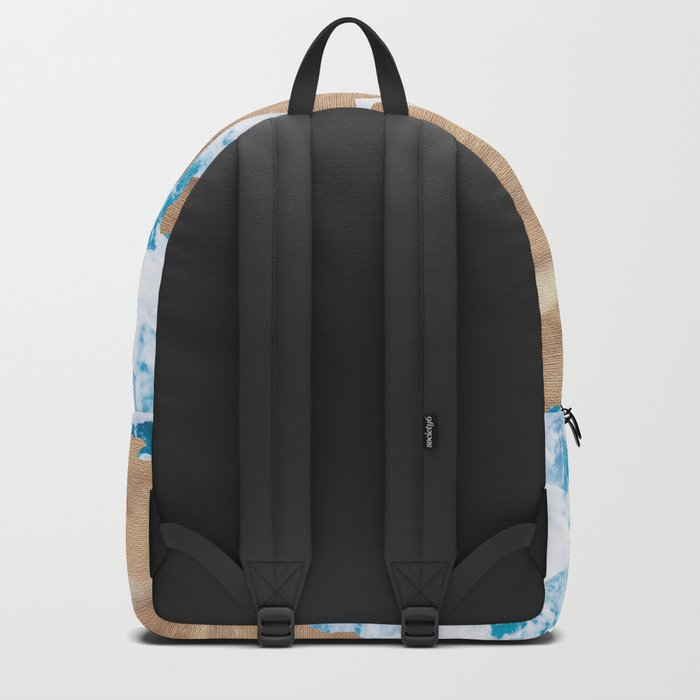 Ocean World Map Vintage Turquoise Sea Backpack