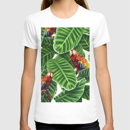 tropical leaves macaw pattern T-shirt