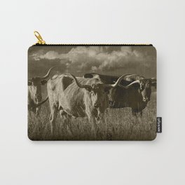 Sepia Tone of Texas Longhorn Steers under a Cloudy Sky Carry-All Pouch