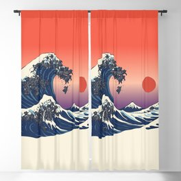 The Great Wave of Black Pug Blackout Curtain