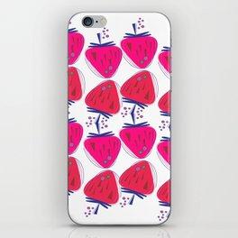 Design strawberries pink on white iPhone Skin