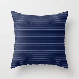 Navy Blue Pinstripes Lines Minimal Throw Pillow