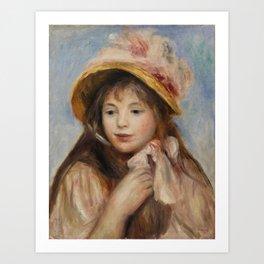 """Auguste Renoir """"Girl with Pink Bonnet (Jeune fille au chapeau rose)"""" Art Print"""