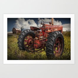 Abandoned Old Farmall Tractor in a Grassy Field on a Farm Art Print