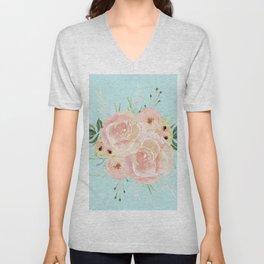 Wild Roses on Succulent Blue Green Unisex V-Neck