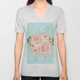 Wild Roses on Succulent Blue Green Unisex V-Neck