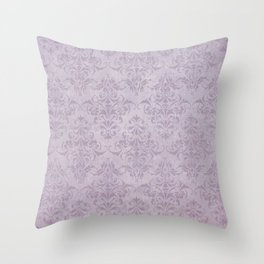 Vintage chic violet lilac floral damask pattern Throw Pillow