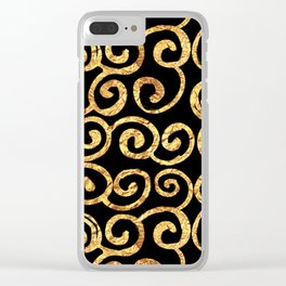 Gold Swirls on Black Background Clear iPhone Case