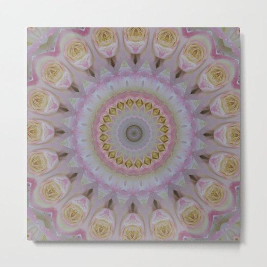 Mandala Of Yellow Roses Metal Print