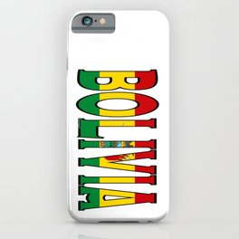 Bolivia Font With Bolivian Flag iPhone Case