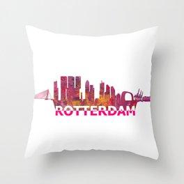 Rotterdam Holland Skyline Scissor Cut Giant Text Throw Pillow
